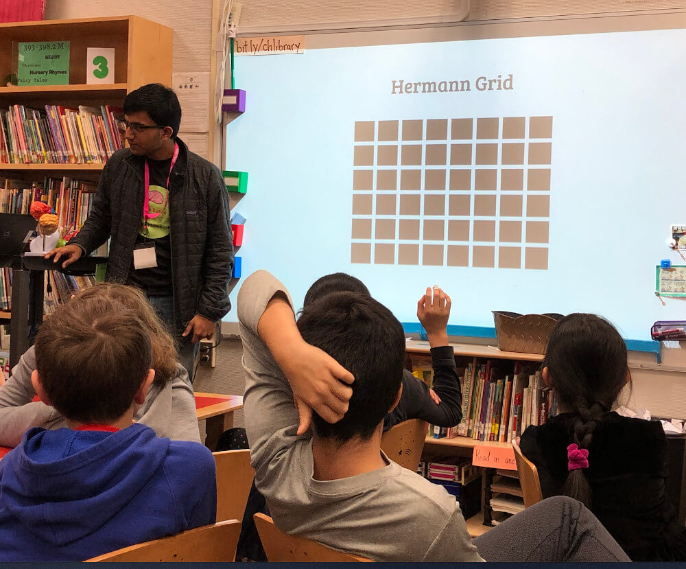 Students learn about Optical Illusions at Cedar Hill Elementary School during an event organized by The Brain Bunch in New Jersey.