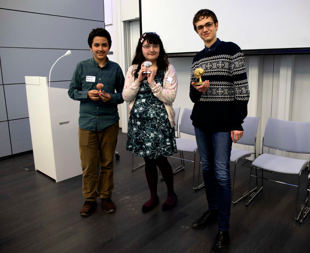 Winners of the British Brain Bee organized by the organization of the same name in Cambridge, UK.