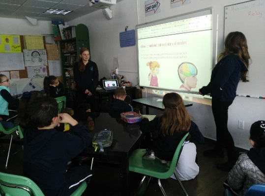 Students learn about the brain during an event organized by Colegio Israelita de México ORT in Mexico