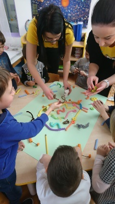 Children make brain models during an event organized by Department of biology, J.J.Strossmayer University in Osijek, Croatia