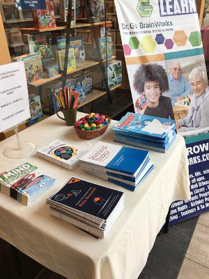 Brain Awareness table during an event organized by Dr. G's BrainWorks in Champaign, Illinois