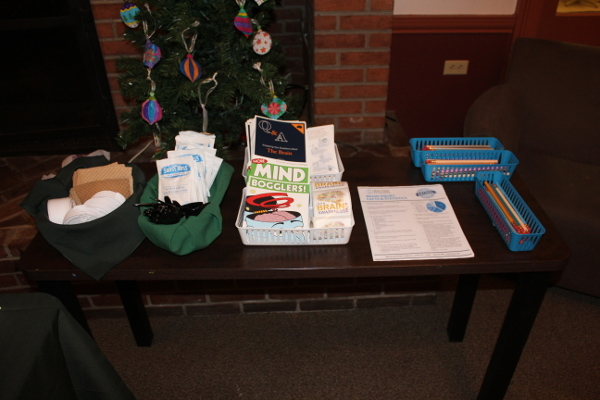 A display at a viewing of a movie about Traumatic Brain Injury (TBI), organized by Drew University in New Jersey