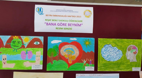 """MY BRAIN ACCORDING TO ME"" Reşat Benli Elementary School students made pictures related to the brain and their pictures were exhibited during BAW. Turkey"