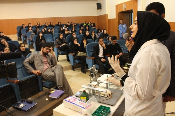 A lecture demonstrating stereotaxic surgery on a rat organized by Ferdowsi University of Mashhad in Iran
