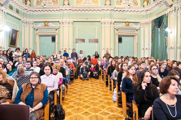 The audience at a public seminar organized by First Pavlov State Medical University in St. Petersburg, Russia