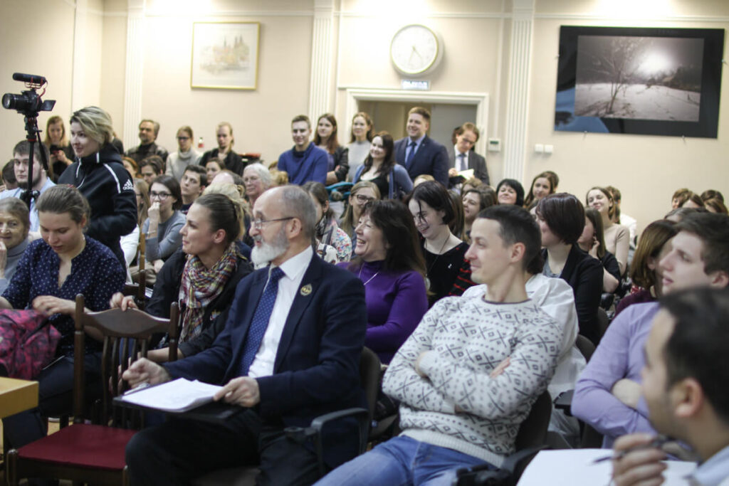 Attentive listeners at an event organized by First Pavlov State Medical University in St.Petersburg, Russia.