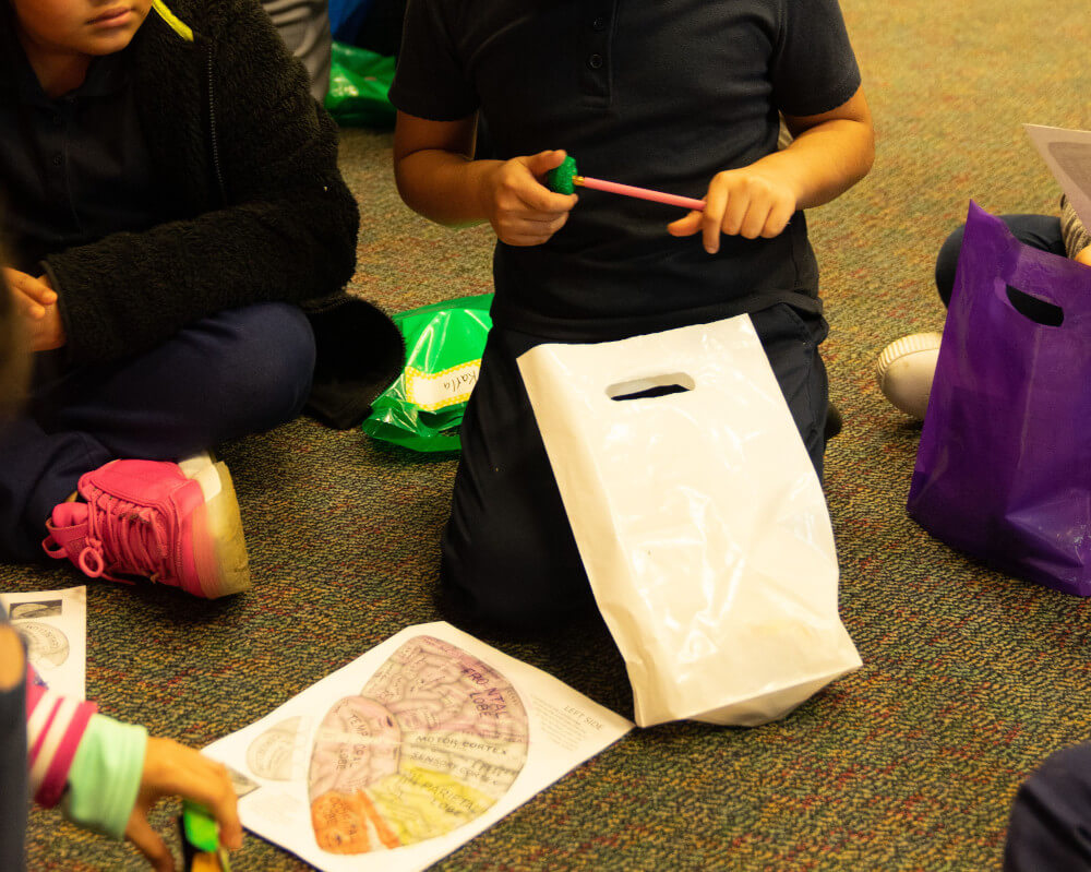 A Brain Fair at Burnet Elementary organized by The Hockaday School in Dallas, TX.
