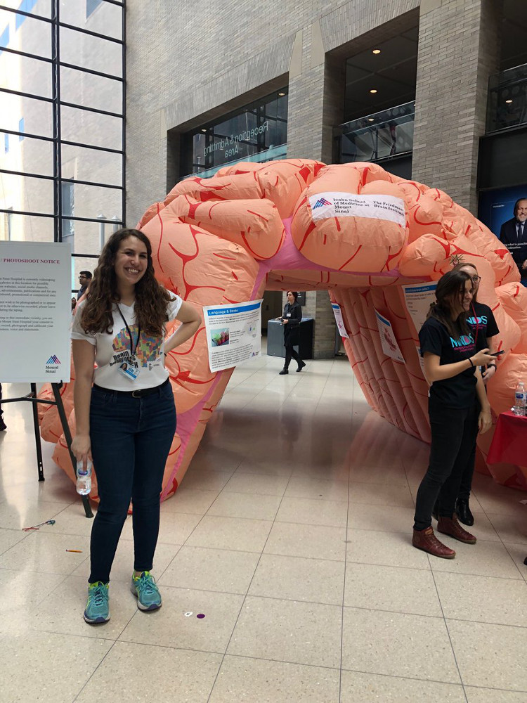 An inflatable brain at an event organized by Icahn School of Medicine at Mount Sinai in New York.