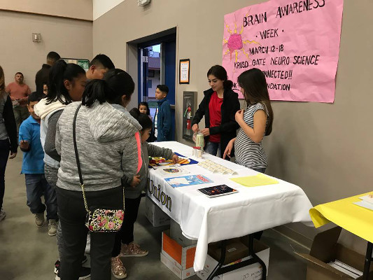 Informational table at the annual Science Fair, organized by Kings River Elementary School in California