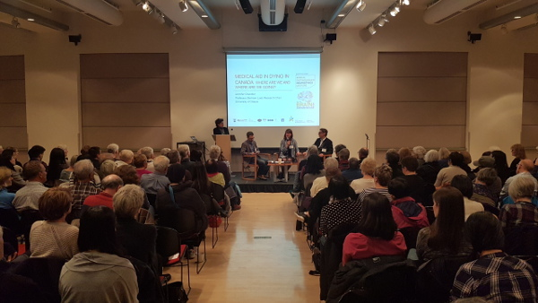 A full audience at a panel discussion organized by Neuroethics Canada at the University of British Columbia in Canada