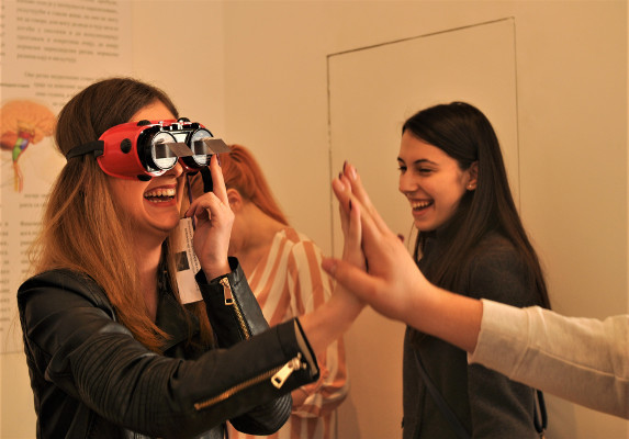 Participants used goggles for a Hunt for Consciousness in the Gallery of Science and Technology during an event organized by Students' Neuroscience Society in Belgrade, Yugoslavia