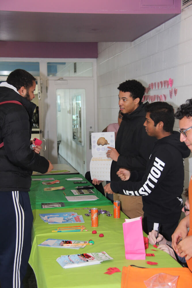 Exhibit table during an event organized by SUNY Old Westbury in New York