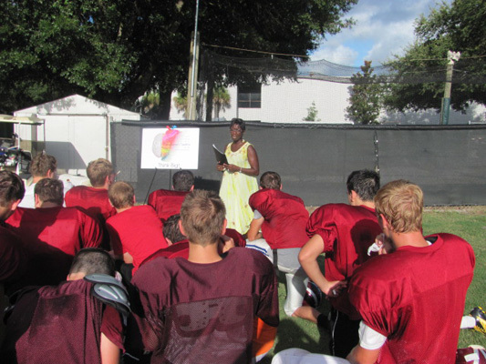 Brain lecture for high school football team by Paula Yorker from Sia Yorker Brain Awareness Foundation in Florida, USA