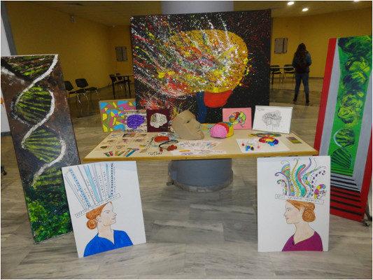 Brain art corner at an event organized by the Department of Biology at the University of Patras in Greece