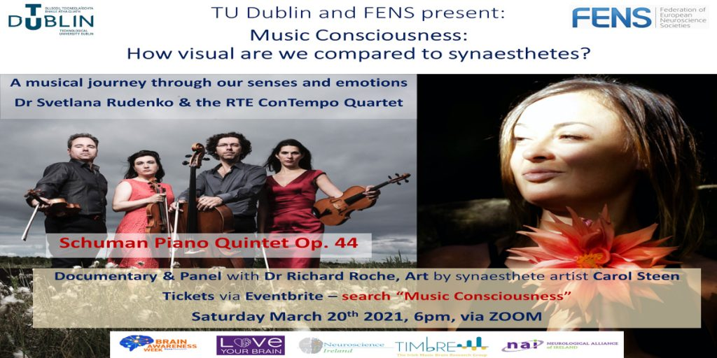 Poster for a Saturday BAW concert, an event organized by Neuroscience Ireland in Maynooth.