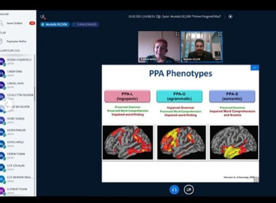 Webinar on Primary Progressive Aphasia organized by Anadolu University Faculty of Health Sciences, Department of Speech and Language Therapy in Turkey.