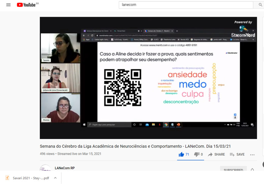Online presentation on the psychosocial implications and the understanding of stressful situations in children and young people, especially now in the pandemic, organized by the Liga Acadêmica de Neurociências e Comportamento da USP de Ribeirão Preto LANeCom in Brazil.
