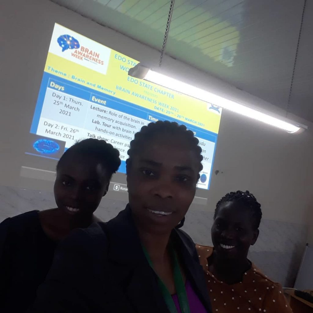 Event facilitators at a BAW event organized by the Anatomy Department Brain Research group Edo State University Uzairue in Nigeria.